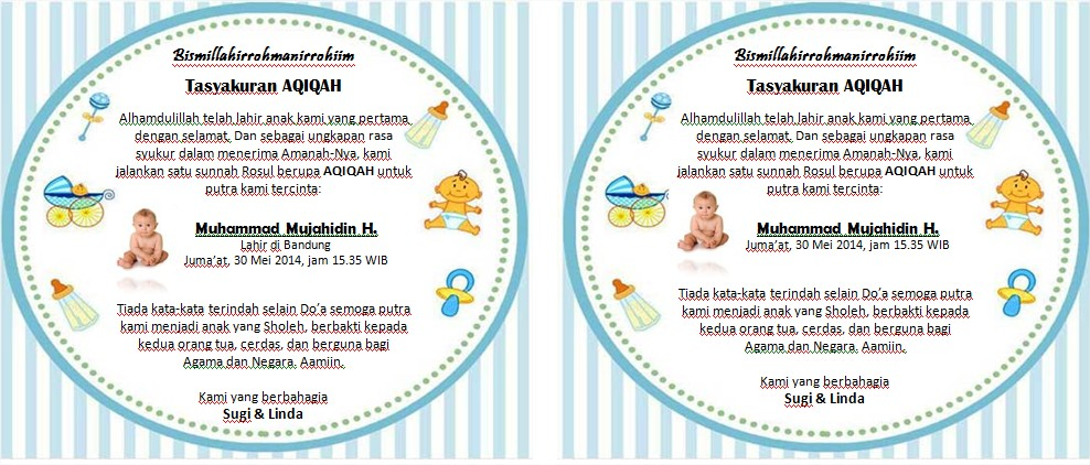 contoh kartu undangan aqiqah