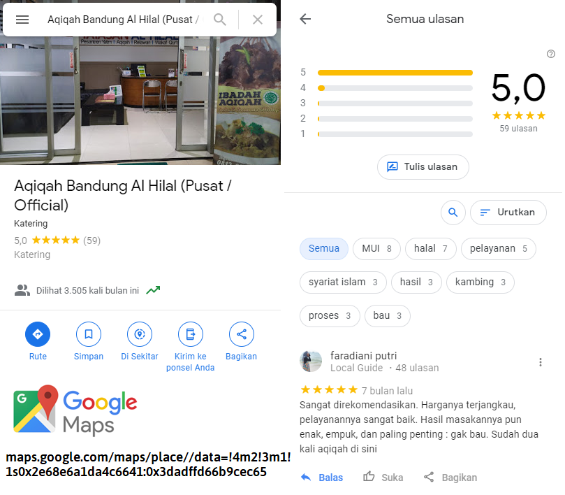 Review Aqiqah Al Hilal di Google Map