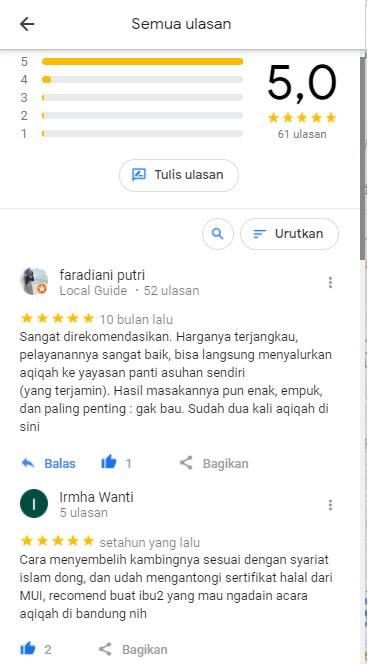 ulasan google maps aqiqah al hilal